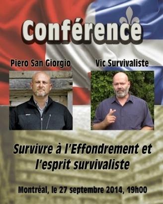 Piero San Giorgio et Vic Survivaliste en conférence le 27 septembre à Montréal